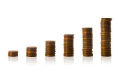 Ascending Penny Bar Graph. Stack US pennies in an ascending bar graph Stock Photos