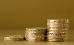 Ascending Piles of British Pound Coins Royalty Free Stock Photos