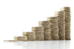 Ascending Piles Of Coins On White Stock Photos