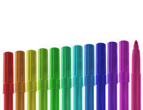 Ascending row of colored markers Stock Image