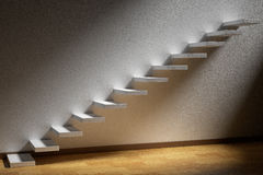 Ascending stairs of rising staircase in dark empty room with lig Royalty Free Stock Photo