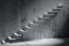 Ascending stairs of rising staircase in dark rough empty room  Royalty Free Stock Photo