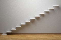 Ascending stairs of rising staircase in empty room with parquet Royalty Free Stock Photos