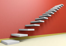 Ascending stairs of rising staircase in red empty room with beig Royalty Free Stock Images