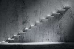 Ascending stairs of rising staircase in rough dark empty room wi Royalty Free Stock Photos