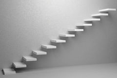 Ascending stairs of rising staircase in white empty room 3d illu Stock Image
