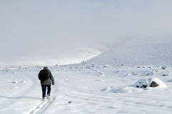 Ascending to the top. Lone male mountain climber climbing a snowy ridge Stock Images