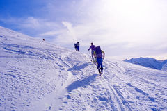 Ascending to the top. Ski mountaineering or cross country skiing in Italian Alps Royalty Free Stock Image