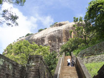 The ascending trail to Sigiriya, Sri Lanka stock photos