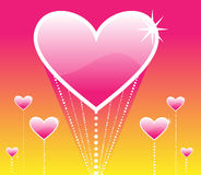 A ascensão de corações cor-de-rosa Imagem de Stock Royalty Free