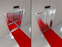 Ascenseur avec le tapis rouge Photo libre de droits