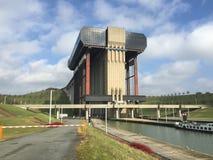 Ascenseur de bateau de Strepy-Thieu (Belgique) Photos stock