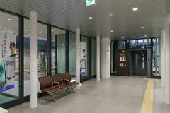 Ascenseur et zone de stockage dans la station de Shin-Hakodate-Hokuto Image libre de droits