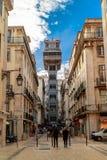 Ascenseur historique de Santa Justa à Lisbonne, Portugal Photo stock