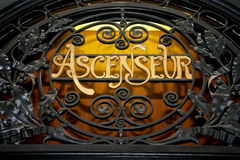 Ascenseur Lift at the peace palace. Luxury French Wooden Lift decoration at the Peace Palace Royalty Free Stock Photos