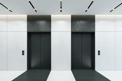 Ascenseur moderne avec les portes fermées dans le lobby de bureau illustration stock