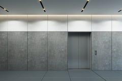 Ascenseur moderne avec les portes fermées dans le lobby de bureau illustration de vecteur