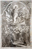 Ascensión de Jesús. Impresión de la litografía en el romanum de Missale ilustración del vector