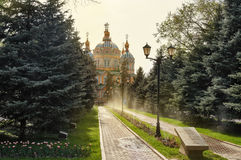 Ascension Cathedral in sunlight in Almaty Stock Image