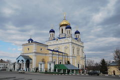 Ascension cathedral yellow. Main orthodox church in the city eltsa, cathedral of the diocese eletskoy stock images