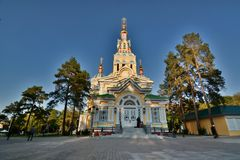 The Ascension Cathedral, or Zenkhov Cathedral. Panfilov Park. Almaty. Kazakhstan royalty free stock image