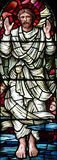 The ascension of Jesus Christ in stained glass Stock Photo