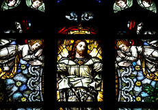 Ascension of jesus Christ in stained glass Royalty Free Stock Photo
