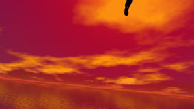 Ascension to the sun - 3D render. Shadow of a human ascending to the sky and the sun by red sunset vector illustration