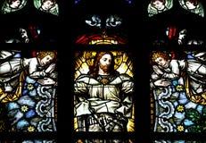 Ascensione del Gesù Cristo in vetro macchiato fotografia stock libera da diritti