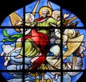 Ascensione di St Peter - vetro macchiato in st Severin, Parigi fotografie stock