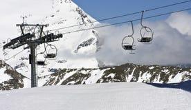 Ascensore di sci al ghiacciaio di Molltaler, Carinzia, Austria Immagini Stock Libere da Diritti