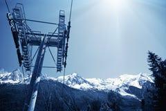 Ascensore di sci a Chamonix-Mont-Blanc Fotografie Stock Libere da Diritti