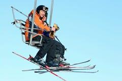 Ascensore di sci dell'aria aperta, Windham Mountain Ski Fotografia Stock