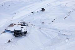 Ascensore di sci il giorno di inverno, alpi tedesche Immagine Stock Libera da Diritti