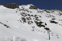 Ascensore di sci nelle alpi Fotografia Stock