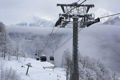 Ascensore di sci in Rosa Khutor Alpine Resort Fotografie Stock Libere da Diritti