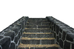 Ascent. Isolated natural stairs of black volcano rock over white Royalty Free Stock Image