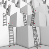Ascent or descend. Illustration of a group of white blocks with a lot of ladders against their walls Royalty Free Stock Photo