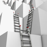 Ascent or descend. Illustration of a group of white blocks with a lot of ladders against their walls Royalty Free Stock Photos