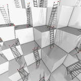 Ascent or descend. Illustration of a group of white blocks with a lot of ladders against their walls Royalty Free Stock Image