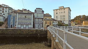 Ascent next to the Bridge of the Kiss Luarca 01 stock video footage