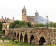 Ascent romanian bridge and Cathedral of Salamanca, Spain royalty free stock image