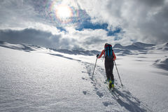 Ascent ski mountaineering in a fairytale place. On the alps Royalty Free Stock Image
