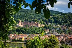 Ascent to the Philosopher`s Path with a view of the Heidelberg Castle, Heidelberg, Baden-Wurttemberg, Germany royalty free stock images