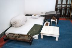 Ascetic living conditions of Mahatma Gandhi in the house of the Museum. Where he lived the last days of his life stock photo