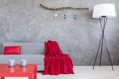 Ascetic living room with sofa and two cups on table. Ascetic style living room in grey with sofa, floor lamp, two cups standing on a small red table stock photo