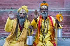 Ascetic monks in Kathmandu Stock Photography