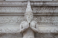 Ascetic statue in Thai style molding art, from sement Royalty Free Stock Photos