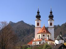 Aschau baroque church on early spring Stock Photo