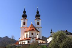 Aschau baroque church on early spring Royalty Free Stock Photos
